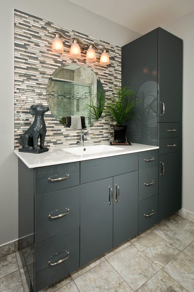 contemporary grey vanity