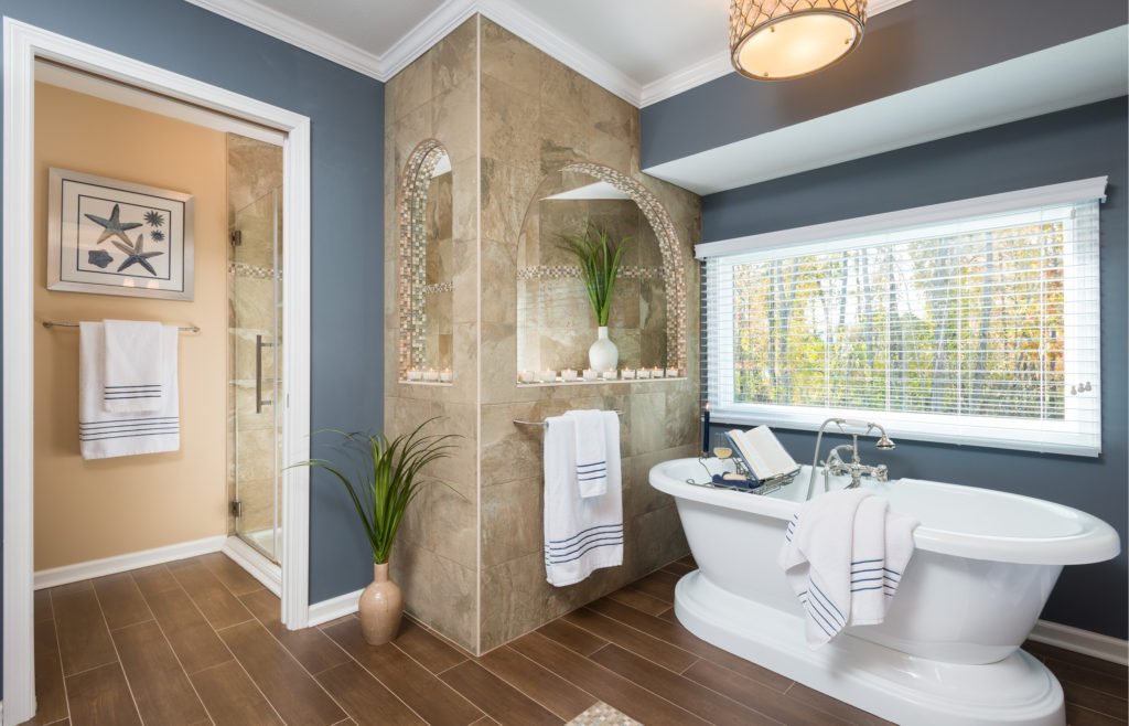 Coastal bathroom with soaking tub