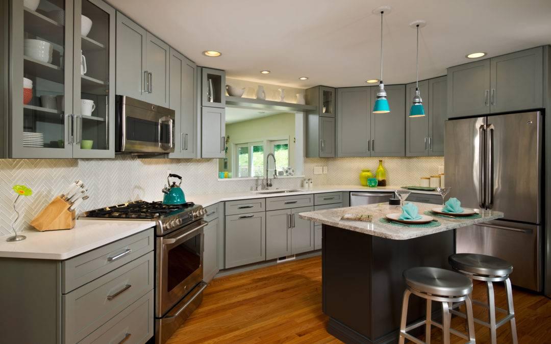 Kitchen Remodel, Gray Angled Kitchen