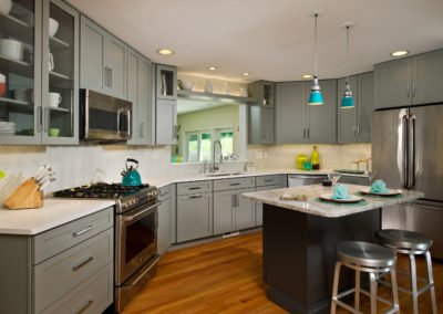 Kitchen Remodel, Gray Angled Kitchen