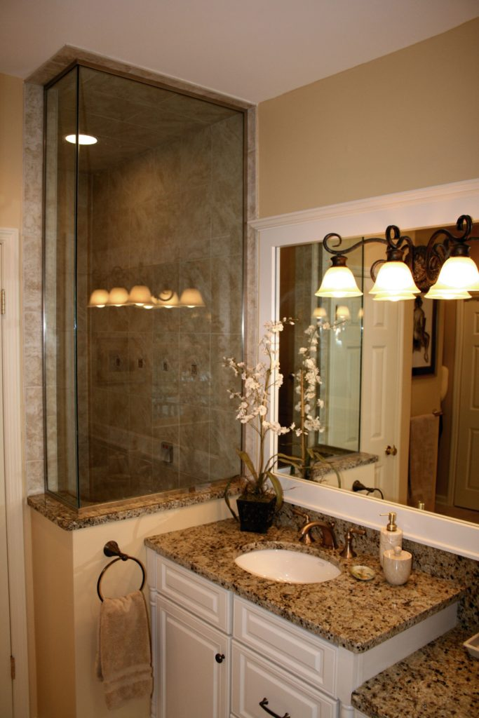 white vanity with standing shower